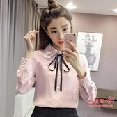 雪紡衫 襯衫女長袖秋冬裝2020年新款韓版寬鬆蝴蝶結襯衣打底上衣 2色