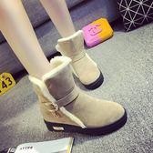 低筒雪靴-時尚氣質保暖皮帶扣女平底靴子3色73kg48【巴黎精品】
