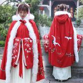 風衣外套 漢服女 中國紅斗篷仙鶴重工刺繡花斗篷民族風保暖連帽長披風8598 卡菲婭