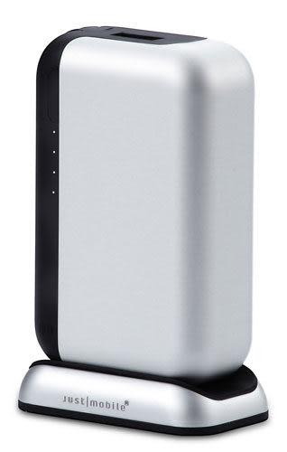 【漢博商城】Just Mobile Top Gum 3.4A 雙輸出 USB 鋁合金行動電源含充電座 - 銀色(6000mAh)