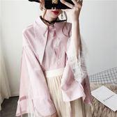 蕾絲白條紋襯衫女長袖2018春裝新款韓范心機上衣設計感甜美小清新