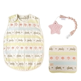 日本 Hoppetta 童趣森林六層紗防踢背心(嬰童)+星星咬咬固齒器+童趣森林手帕