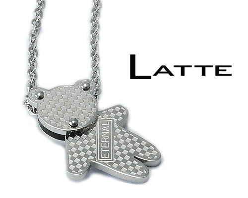 LATTE Baby Bear 銀色小熊不鏽鋼項鍊 男鍊