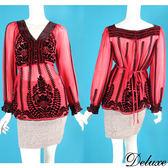 【Deluxe】神秘民族風絨布花朵圖騰雪紡長袖上衣(紅)