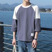 夏季五分袖t恤男潮流學生港風bf寬鬆百搭5分短袖T?