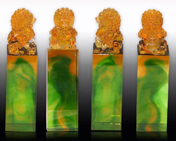 鹿港窯-居家開運水晶琉璃 吉祥印章【吉祥瑞獅方印 】附精美包裝◆免運費送到家