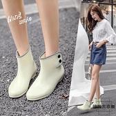 可愛透明女士雨鞋韓版夏季時尚雨靴水靴膠鞋【時尚大衣櫥】