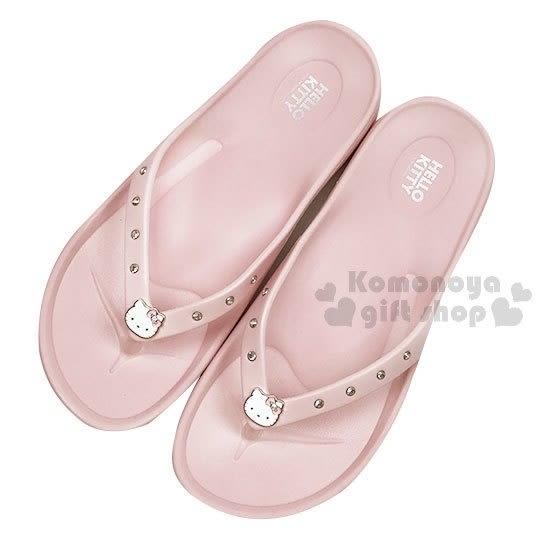 〔小禮堂〕Hello Kitty 超輕量防水夾腳拖鞋《淡粉.大臉.水鑽》海灘拖 4719183-3313__