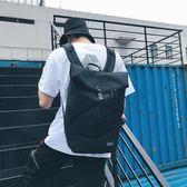 雙肩包男街拍時尚潮流個性帆布卷口撞色雙肩包大容量旅行運動背包 艾尚旗艦店