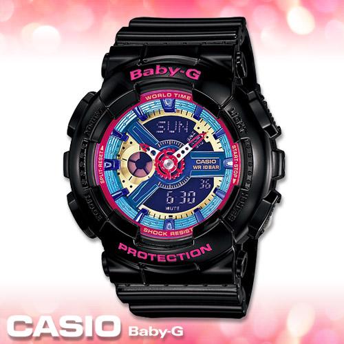 CASIO卡西歐 手錶專賣店  Baby-G BA-112-1A 女錶 繽紛色彩 數字雙顯錶 43mm大錶徑 橡膠錶帶