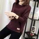 長袖素色短版套頭針織毛衣 寬鬆韓版毛衣M...