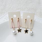 迴紋針垂吊星星小珍珠不對稱造型耳環-耳針-C8411-pipima