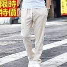亞麻褲休閒長褲-百搭鬆緊繫帶舒適男褲子4色68b2【巴黎精品】