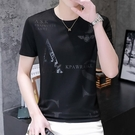 男士短袖t恤夏季新款2021休閒潮流半截袖體恤男裝潮牌冰絲上衣服【快速出貨】