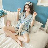 睡衣 夏季短袖純棉冰絲可愛和服寬松家居服兩件套裝日式