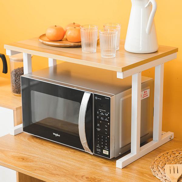 威瑪索 耐重雙層微波爐廚房家電收納置物架-附贈掛勾5入-(3色)