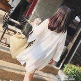 沙灘防曬衣女式長袖夏季韓版中長款雪紡開衫海邊度假寬鬆薄款外套   電購3C