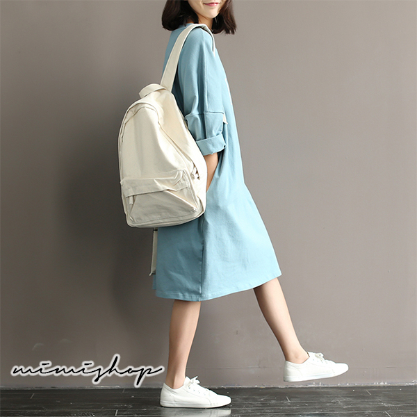 孕婦裝 MIMI別走【P52930】雲朵的自由 寬鬆大版長袖連身裙 洋裝 長裙