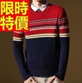 針織衫拼色圓領-秋冬新款韓版修身男毛衣1色61l62【巴黎精品】