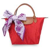 LONGCHAMP經典短提把小型尼龍摺疊水餃包(紅色-含帕巾)480100-23