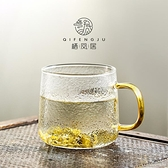 棲鳳居家用玻璃杯子辦公室透明水杯創意錘紋帶把泡茶
