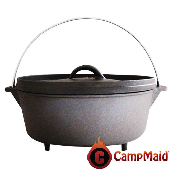【美國 CampMaid】10吋荷蘭鍋/有腳 60012 戶外.露營.野炊.鑄鐵鍋.料理.鍋具.炊具