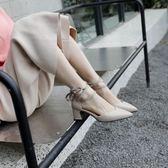 綁帶粗跟單鞋女復古尖頭鞋子女