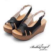 楔型涼鞋 夏日風情雅緻真皮楔型涼鞋(黑)*BalletAngel【18-761bk】【現貨】