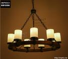 INPHIC- 美式復古燭臺吊燈工業創意簡約圓形餐廳木頭鐵藝木藝吊燈_S197C