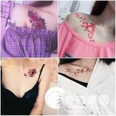 紋身貼-花朵紋身貼防水女持久彼岸花清新性感鎖骨櫻花剖腹產遮疤痕可自選-奇幻樂園