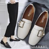 豆豆鞋女秋季一腳蹬樂福鞋平底單鞋英倫風時尚小皮鞋 水晶鞋坊