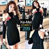 克妹Ke-Mei【ZT42126】歐美時髦復古電繡玫瑰性感露肩連身洋裝