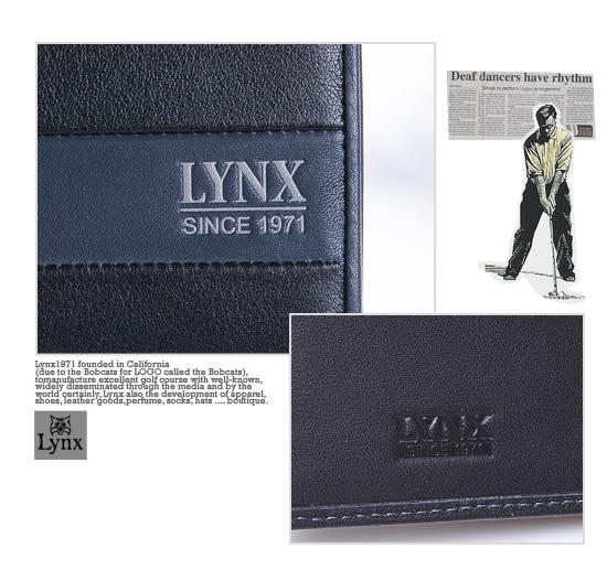 Lynx - 山貓藝術藍墨真皮系列上下翻6卡1照短夾