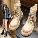 馬丁靴女2021年新款英倫風爆款短粗跟瘦瘦靴子百搭時尚機車帥氣一米陽光