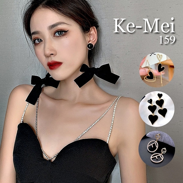 克妹Ke-Mei【AT67460】歐美復古時尚黑鑽愛心耳針式耳環(四款)