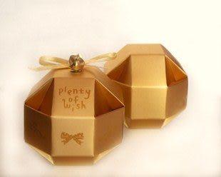 (免費摺喜糖盒)八面玲瓏球喜糖盒-金,婚禮小物/100份