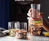 一壺一杯 涼水壺歐式冷水杯家用透明玻璃水具套裝檸檬果汁壺扎壺      (橙子精品)