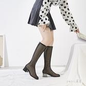 大碼靴子女2020新款春長筒靴拉鏈高筒長靴韓版鏤空網眼靴粗跟涼靴 LR17707【Sweet家居】