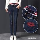 加絨牛仔褲女高腰春秋季2020新款顯瘦鬆緊腰外穿大碼學生小腳褲子『潮流世家』