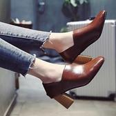 夏季新款韓版方頭奶奶鞋粗跟百搭復古單鞋中跟女鞋高跟鞋兩穿 雙12全館免運