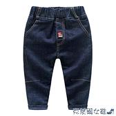 兒童牛仔褲 折牛仔褲 2021冬裝新款男童童裝兒童加絨加厚長褲子kz-a806 快速出貨