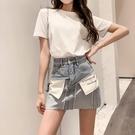 新款包裙女裝設計感小眾牛仔短裙高腰a字包臀半身裙子潮 黛尼時尚精品