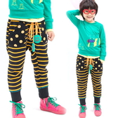 【韓版童裝】保暖刷毛口袋點黑黃橫條褲-黑【BD141211021】