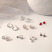 S925純銀針韓國氣質簡約小巧個性網紅設計感耳釘小眾耳墜女士耳環 滿天星