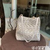 熱賣草編包仙女包包秋冬韓版草編蕾絲側背包手提包女士大容量水桶購物袋