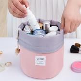 化妝包圓筒式大容量旅行洗漱包 旅游女士 韓國大容量化妝袋