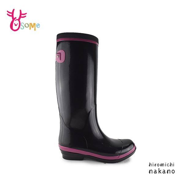 hiromichi nakano 日本設計大師 成人女款 時尚雨鞋 內裡保暖耐磨防滑 G9633#黑色◆OSOME奧森鞋業