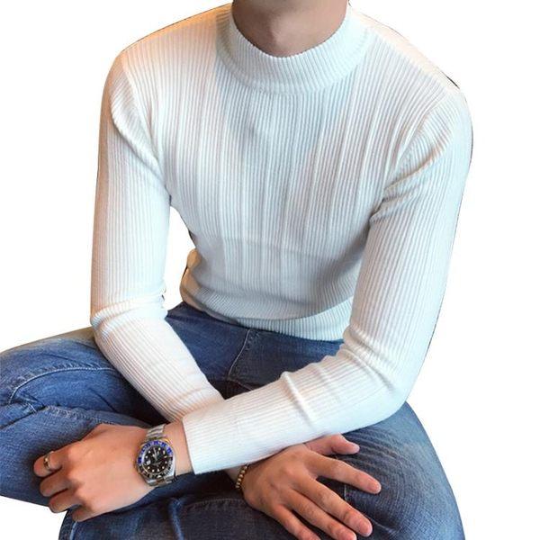 618大促韓國正韓秋冬半高領毛衣男士時尚修身針織衫條紋打底針織衫青年潮