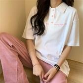 短袖女T恤學生韓版寬鬆夏上衣服日系可愛POLO衫簡約港風INS潮網紅 蘑菇街小屋