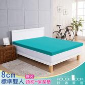 House Door 吸濕排濕 8cm乳膠記憶床墊雙享組-雙人5尺(青碧藍)